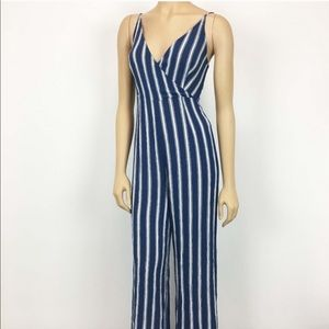 Forever 21 blue and white striped jumpsuit small